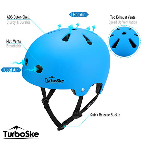 TurboSke Skateboard Helmet, BMX Helmet, Multi-Sport Helmet, Bike Helmet for Kids, Youth, Men, Women