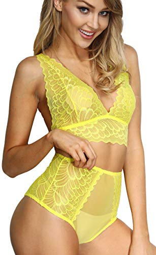 The victory of cupid Women 2 Piece Floral Lingerie Sets Lace Babydoll Bralette Bra and Panty Set (Yellow, L)