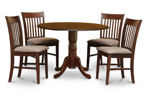 East West Furniture DLNO5-MAH-C 5-Piece Kitchen Table Set, Mahogany Finish, Microfiber Upholstered Seat,