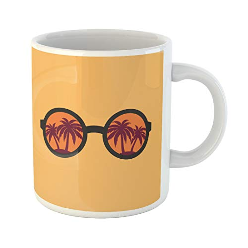 Semtomn Funny Coffee Mug Orange Sunglasses Reflection in the Glasses of Palm Tree 11 Oz Ceramic Coffee Mugs Tea Cup Best Gift Or Souvenir