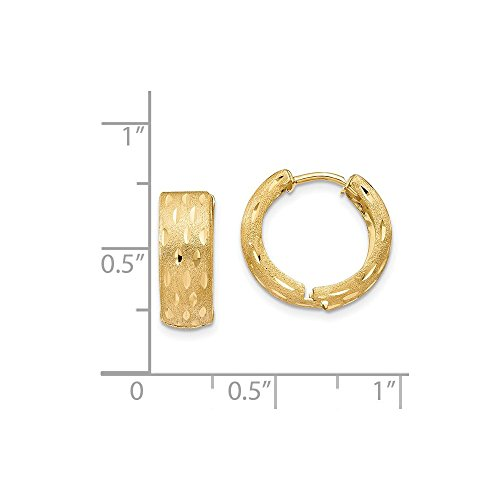 14K Yellow Gold Satin and Polished 16mm Hinged Hoop Earrings