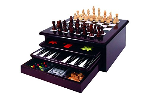 Board Game Set - Deluxe 15 in 1 Tabletop Wood-accented Game Center with Storage Drawer (Checkers, Chess, Chinese Checkers, Parcheesi, TicTacToe, SOlitaire, Snakes and Ladders, Mancala, Backgammon, Poker Dice, Playing Cards, Go Fish, Old Maid, and Dominos) (Board Games Set)