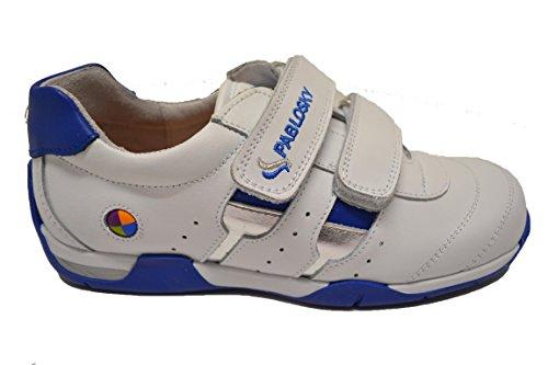 Pablosky 230304 - Deportivo en piel de velcros para niño. Blanco y azul.