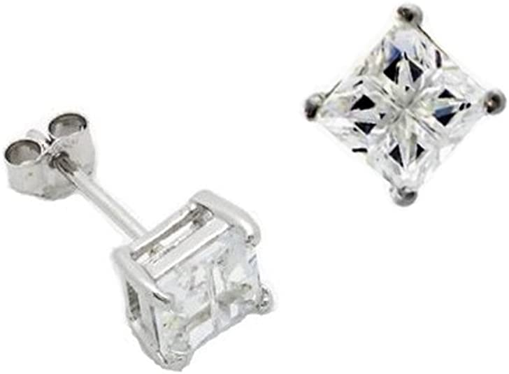 STERLING SILVER SQUARE CLEAR WHITE CUBIC ZIRCONIA CZ STUD EARRINGS