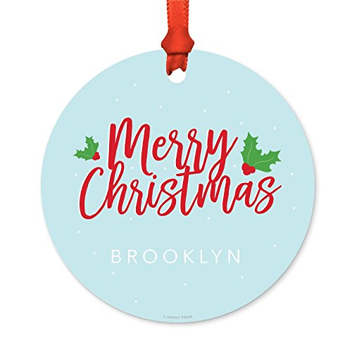 Andaz Press Fully Personalized Metal Christmas Ornament, Merry Christmas Red Blue with Holly, 1-Pack, Includes Ribbon and Gift Bag, Custom Name