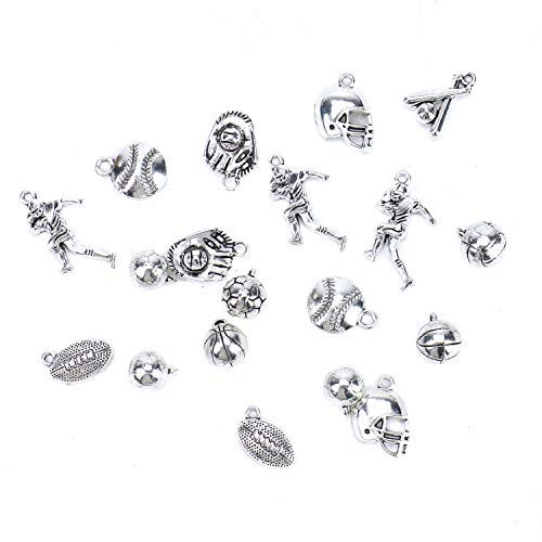 Monrocco 30pcs Antique Silver Alloy Football Charm Baseball Sports Charms Pendant for Jewelry Making DIY Findings