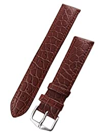 Hirsch Aristocrat Brown Crocodile Embossed Leather Watch Strap 038280-10-22