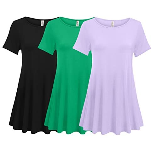 413ba6cef6b 3 Pack  Womens Plus Size Tunic Tops for Leggings