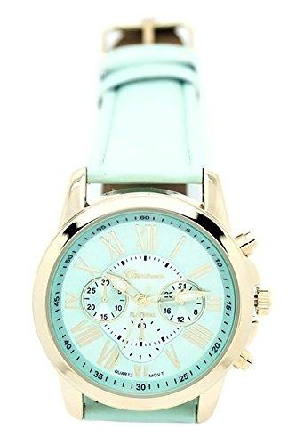 DAISY*VZU Women Stylish Geneva Numerals Faux Leather Analog Quartz Wrist Watch Mint Green