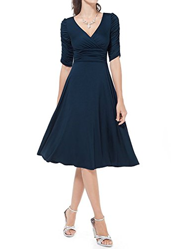 Aamikast 3/4 Sleeve Ruched Empire Waist Cute V-Neck Casual Cocktail Dress for (Ruched Empire Cocktail)