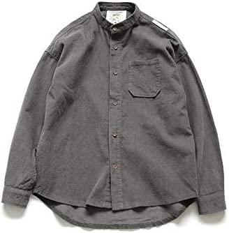 RSL Cuello de Pana Informal Camisa de Color sólido Delgado de la Camisa Marea jóvenes de Corea del Original de Primavera y otoño los Hombres japoneses (Color : Dark Gray, Size :