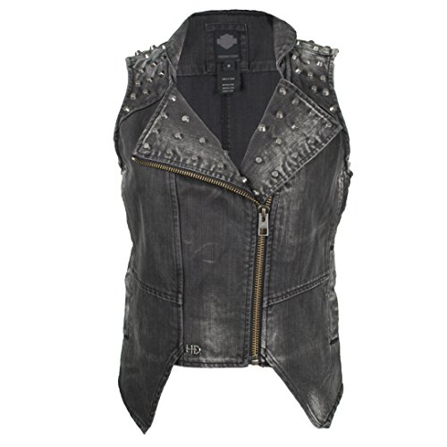 Harley Davidson Ladies Black Denim (Harley-Davidson Womens Black Label Slim Fit Studded Denim Biker Vest 96126-17VW (Medium))