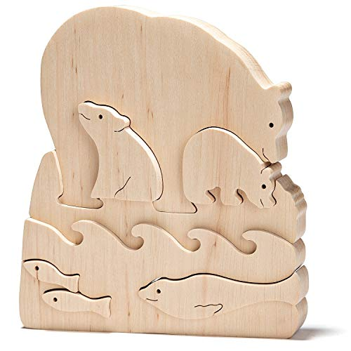 JNTAR Polar Bears Wooden Puzzle for Kids Wooden Educational Shape Puzzle Zoo Blocks Wooden 3D Puzzle Wood Toy for Children Development Jigsaw Puzzle Brain Teaser for Kids, Non-Toxic