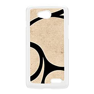 Beige and Black abstract swirls art with subtle pattern White Hard Plastic Case for LG L90 by UltraCases + FREE Crystal Clear Screen Protector
