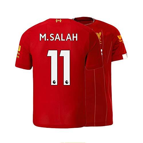 Men's M. Salah Jersey 2019-2020 Liverpool Home Soccer 11 Adult Mohamed Red (Medium)