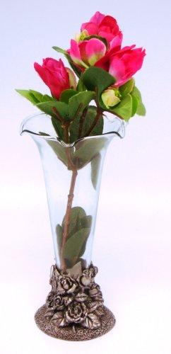 Roses Vase Holder w/Glass Vase (Item # - Pewter Vases