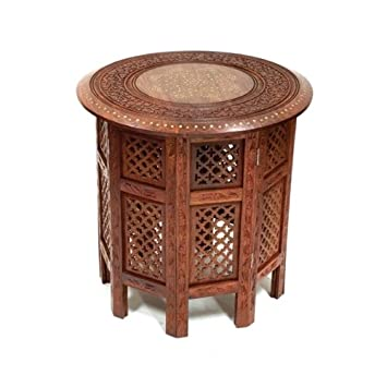 Stylla London Indian Hand Carved 18 Sheesham Jali Wooden Side Table