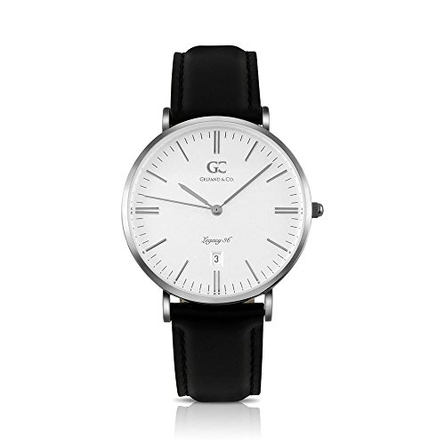 Gelfand & Co. Unisex Minimalist Watch Black Leather Chelsea 36mm Silver with White ()