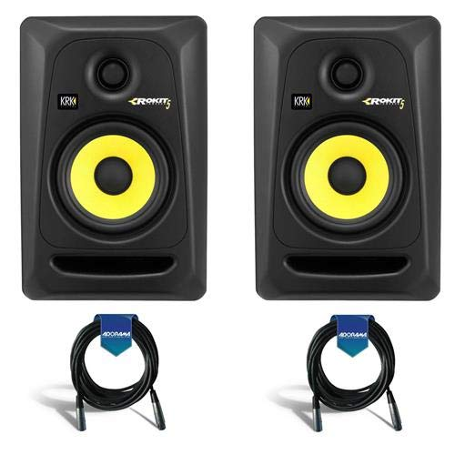 KRK 2 Pack Rokit 5 G3 5'' Two-Way Active Studio Monitor Speaker, 45Hz-35kHz, Black - With 2 pack 20' Heavy Duty 7mm Rubber XLR Microphone Cable