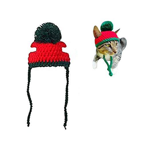Beegame Christmas Dog/Cat Hat Handmade Woolen Cap,Cute Knitted Pet Hat Costume for Christmas Halloween Parties (M (9.4-11.8 in))