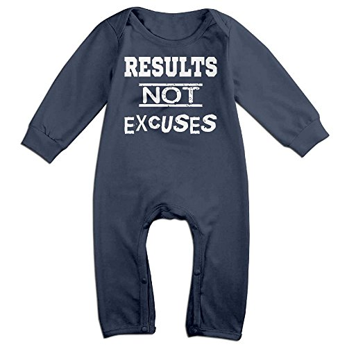 Baby Infant Romper Results No Excuses Long Sleeve Bodysuit Outfits Clothes Navy 6 (No Costume Excuses)