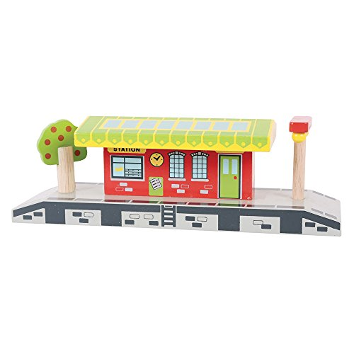 - Bigjigs Rail Village Station - Other Major Wooden Rail Brands are Compatible