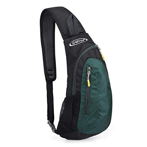 G4Free Sling Bags Men Shoulder Backpack Mini Chest Day Bag Small Cross Body (Dark Green) -