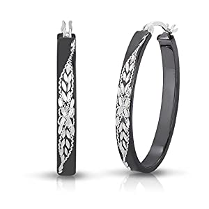Sterling Silver Diamond-cut Engraved Oval Flat Black Hoop Earring (1.2 Inch)