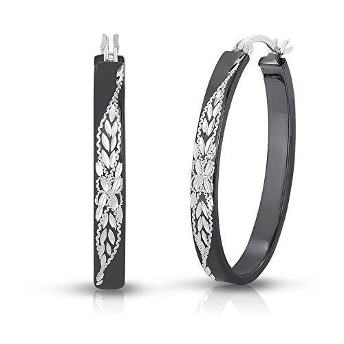 Sterling Silver Diamond-cut Engraved Oval Flat Black Hoop Earring (1.2 (Diamond Shaped Hoop)