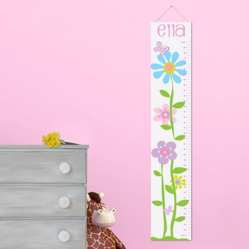 Personalized Growth Chart for Girls - Butterflies and Blooms Children Nursery Baby Room Decor Wall Decals Vinyl Sticker ()