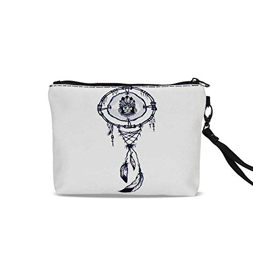 Native American Travel Cosmetic Bag,Native American Shamanic Symbol with Indian Chief Boho Dreamcatcher Pattern Art For Women Girl,9