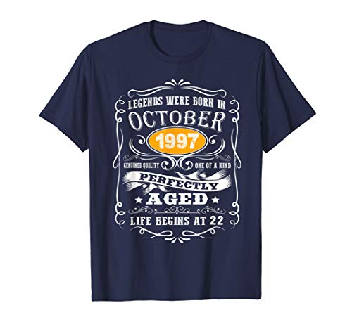 October 1997 22nd Birthday Gifts 22 Years Old Men Women T-Shirt