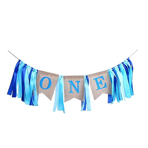 - CCINEE 1st Birthday Party Favor Blue High Chair Burlap Banner for Boy Birthday Party Decoration