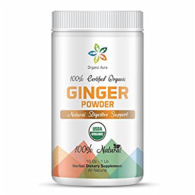 Certified Organic Ginger Root Powder 16Oz - 1Lb. Natural Digestive Support. Enhances overall Health and Vitality. Raw Whole Superfood. 100% All Natural, Fresh and Original. No GMO and Gluten Free.