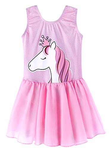 Pink Unicorn Skirted Leotards 8t 9t for Girls Gymnastic Ballet Tutu Dance Dress Mermaid Unicorn Gymnastic Skirt(Baby Girls/Toddler Girls/Big Girls) (Baby Pink, 140(8-9 years old)) ()