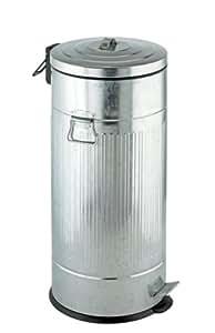 WENKO 18687100 Cubo con pedal New York Easy Close  - dispositivo automático de descenso, 30 litros, apariencia de chapa,  30 L, Metal, 31 x 69 x 31 cm, Mate