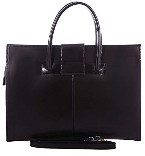 In Made Wallets Leather Bag Woman Briefcase Hand Black Italy Genuine And Shoulder 100 qBqX1xvzw