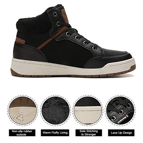 Invierno Botines Fur Forro Nieve Zapatos negro Boots Impermeables Aire Hombre Botas A8472 Libre Abtop CZXw5Aqx