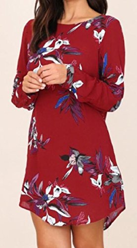 Red Dresses Long Sleeve Rise Wine Party Elegant Mid Printing Coolred Women Casual q1ZaP