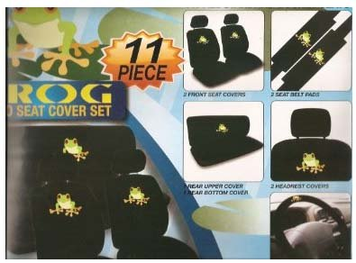 Frog Car Seat Cover (Frog Design Seat Covers for Car SUV - Front Rear Full Set Seat Protection + Steering Wheel Cover + Belt Pads)