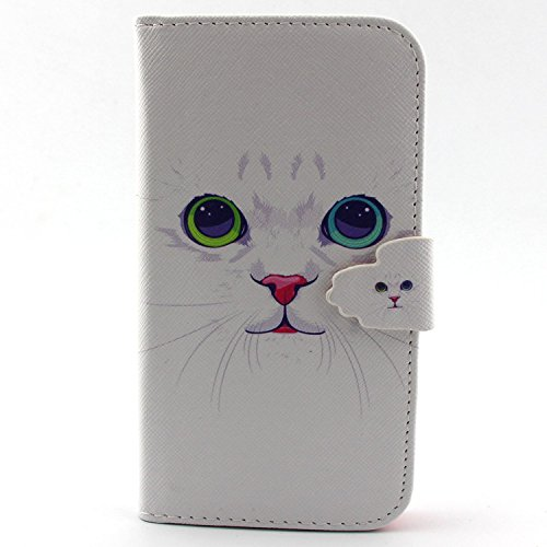 S5 Case, Galaxy S5 Case, Easytop New Arrival Double Side Print Fashion Sparkle Pattern Premium PU Leather Wallet Fleible Stand Design Flip Protective Skin Case with 2 Built-in Credit Card/ID Card Holder Slots, Cash Pocket and Magnetic Closure for Samsung Galaxy S 5 / Galaxy SV / Galaxy S V i9600 (2014) (White Cat Red Nose)