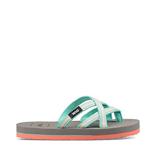 Teva Girls' K Olowahu Flip-Flop, Lindi Sea Glass/Coral, 11 M US Little - Flip Flops Kids