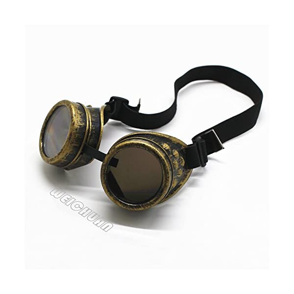 WEICHUAN New Sell Vintage Steampunk Goggles Glasses Cosplay Cyber Punk Gothic(Black) 5