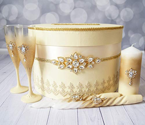 Gold Wedding Unity Candle Set Toasting Flutes Wedding Card Box Champagne Glasses for Bride and Groom Wedding Card Holder Unity Ceremony ()