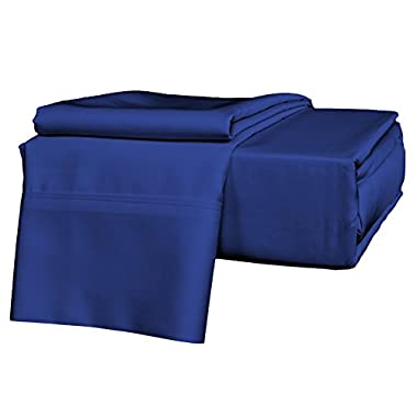 Brielle 630 Thread Count Egyptian Cotton Sateen Premium 600 Plus Sheet Set, Full, Cobalt Blue