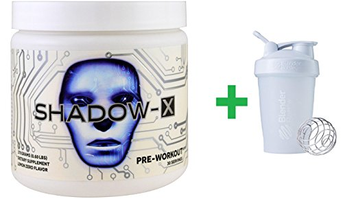 Cobra Labs, Shadow-X, Pre-Workout, Lemon Zero, 0.60 lbs (270 g) + Sundesa, BlenderBottle, Classic With Loop, White, 20 oz