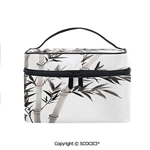 (Lightweight Cosmetic Travel Bag Beauty Toiletry Bag Traditional Bamboo Leaves Meaning Wisdom Growth Renewal Unleash Your Power Artprint Portable Multi-function Organizer)