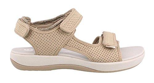 (CLARKS Women's Brizo Sammie Flat Sandal, Sand Perforated Microfiber, 10 M US)