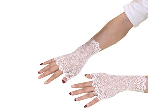 Eliffete White Wrist Length Sheer Lace Wedding Bridal Glove Half Finger for Lady