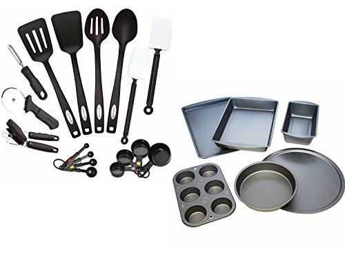 Farberware Classic 17-Piece Kitchen Tool and Gadget Set and BakerEze 6-Piece Non-stick Bakeware Set, Bundle